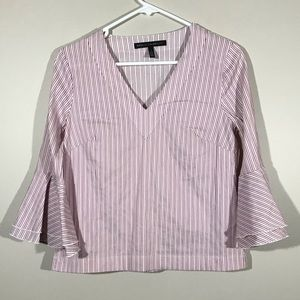 White House Black Market Striped Bell Sleeve Top